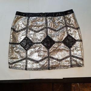 AKIRA Black label mini skirt gold and black sz m